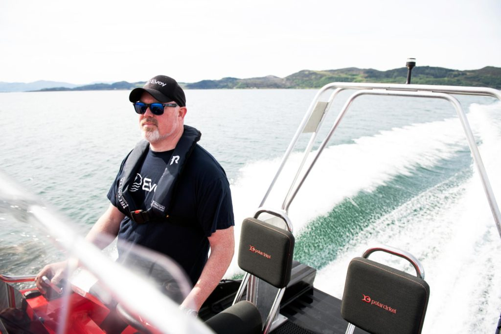 Image of Leif A. Stavøstrand driving Evoy1 electric boat