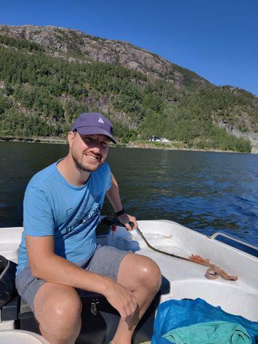 Evoy CDO Kjetil Watnedal in a boat
